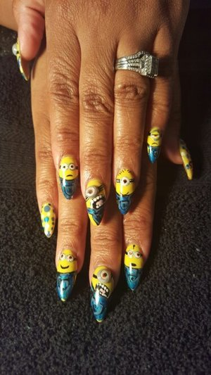 minion inspired hand painted nails by SauceC Nailz