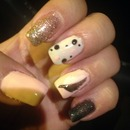 Pink glitter black and white feather with dots