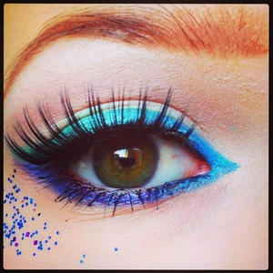 I used blue, green and purple eye shadows from coastal scents 88 palette.