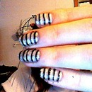 Black, Silver, and Silver Striped Nails