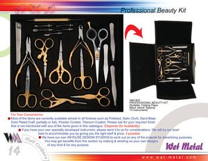 Manicure set of 14 pices half gold, packed in beautiful velvet packing. Manicure sets are available in different number of instuments and pouches of your choice.