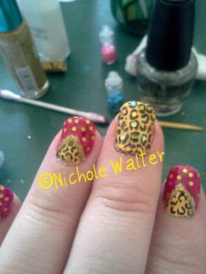 Glitters are blue, pink and gold hex glitter. Stamped with red angel plate
