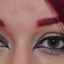 Magenta Hair & Eyebrows - Gold & Green Eyeshadow