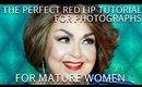 How to apply RED LIPS for Women Over 50 | How to do Makeup for Photographs |  - mathias4makeup