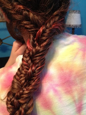 This is a braid of three fishtails combined that I did on a friend's hair