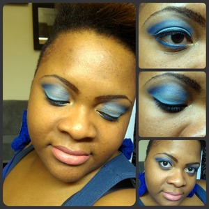 A smokey blue eye look.