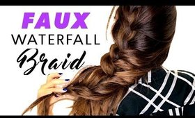 5-Minute Side-Swept FAUX Waterfall Braid HAIRSTYLE   Easy Valentines Day Hairstyles