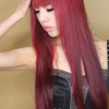 Long wine red hair