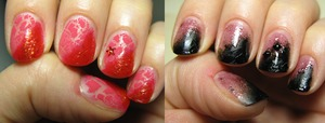 Here's the 2 attemp to gradient nails I did today... Did & got rid off straight away!?  = (