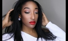 Simple Eyes with Holiday Red Lips