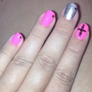 Pink and silver cross nails with black rhinestones