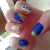 Gold And Blue Nails With Gems