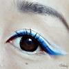 Blue eyeliner eye look