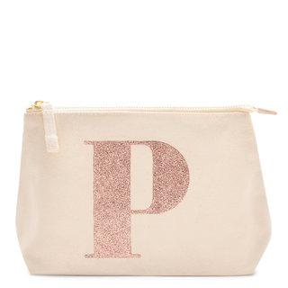 Rose Gold Glitter Initial Makeup Bag Letter P