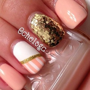 here are some cute peach and gold nails. super cute.