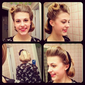 hotd: victory roll, pompadour, black bandana, and hair rolled under
