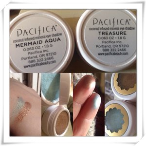 So apparently there's this really nice brand of eyeshadow ( my mom said like $13 apiece ) called Pacifica. Lol it's vegan, cruelty free makeup( which I ❤️❤️❤️❤️) anyways I swatched them for you . For the Treasure eyeshadow( the brown one) it pigmentation is amazing . It's like a darker brown with a light hint of gold .  For the Mermaid Aqua ( the blueish one) when I swatched it on my hand I hand to put two layers on to be able to see more blue; it's a very subtle Color. I put my hand in the sun to show what it would look like outside , the picture does the Mermaid Aqua no justice but it looks beautiful in sun light! It's like a teal color with a hint Of gold in it as well. They aren't that shimmery . Can't wait to try them out 💕