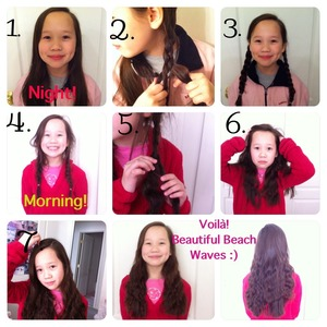 So today I decided to do a beach waves tutorial without heat! This is so easy my 9 year old sister actually did it on herself and I took the pics :)! So if she can do it anyone can ;)!  1. Put your hair into 2 sections and braid them. 2. Go to sleep😴😴 3. Wake up😎 4. Take your braids out. 5. Brush your hair with your fingers(DO NOT USE A BRUSH OR IT WILL RUIN THE WAVES AND MAKE THEM FRIZZY!). 6. Shake your head and just play around with the waves to your liking. 7. Get a comb and lightly brush the top of your hair just to get the top of your hair smooth. You can also tease the top of your hair if you want more volume. 7. Enjoy your gorgeous beach waves that will last all day without any product! You can add hairspray if you'd like, but there is really no need!  Hope you guys liked the pictorial :) XOXOXO
