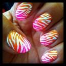 Summer Fade Zebra Nails