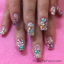 Multi rhinestone nails