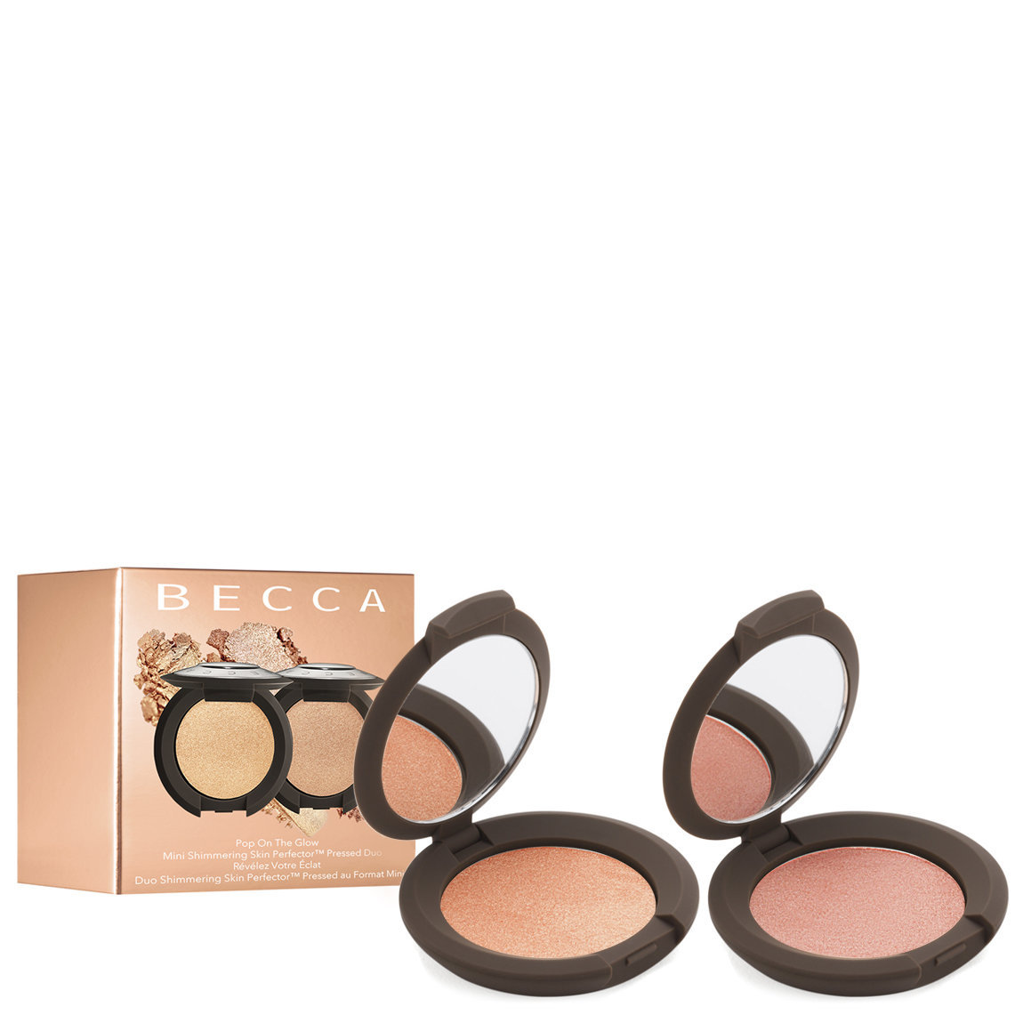 BECCA Pop on the Glow: Shimmering Skin Perfector Pressed Duo product swatch.