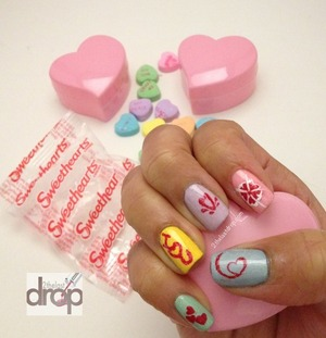 Happy Valentine's Sweetheart nails  http://2thelastdrop.com/2012/02/14/happy-valentines-day-nails-to-all-you-sweethearts/