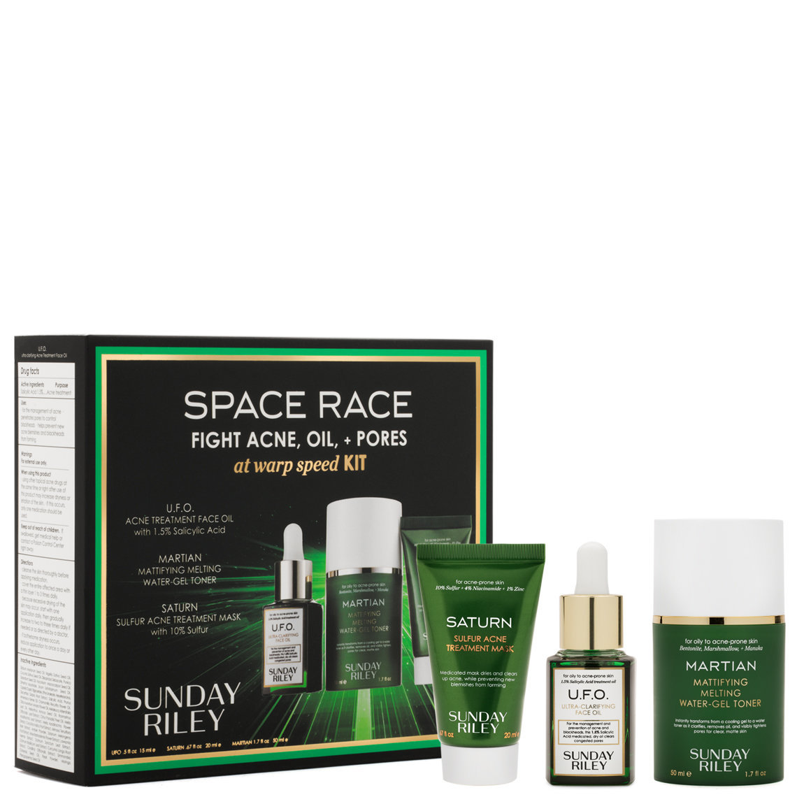 Sunday Riley Space Race Fight Acne, Oil + Pores At Warp Speed Kit product smear.
