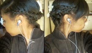 Wrap-around braid into side bun.