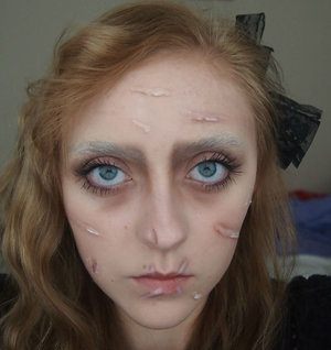 This is my female version of Edward Scissor hands! I really loved playing around with this look and it was my first time attempting to block out me eyebrows!