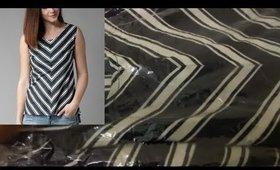 Unboxing Women Navy Blue Striped High-Low Top from Myntra I Western Wear for girls women I