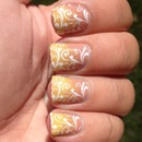Double Stamped Yellow Gradient Tip Nails