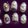 Nude & Gold Monogram Seashell nail art