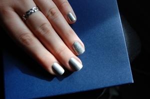 Rebel nail wrap in matte silver and Hologlitter by stargazer