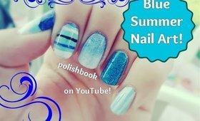 Blue Summer Nail Art! ♡