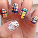 rainbow plaid nails