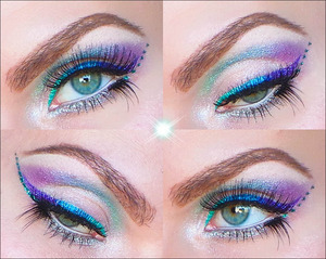 1. Prime the eyelids with Urban Decay's eyeshadow primer potion anti-aging.  2. From the inner corner all over the mobile eyelid apply a loose silver sparkly eyeshadow. Highlight under the eyebrows with a loose red sparkly eyeshadow.  3. In the outer crease blend in a purple eyeshadow. Over the middle crease blend in a cold blue eyeshadow. In the inner crease blend in a light green eyeshadow.  4. Under the eye apply a silver eyeshadow and over it a silver glitter eyeliner for some extra sparks.  5. Line the waterline with a beige kajal.  6. Now apply three different colored cream eyeliners. I started in the inner corner with a green, followed by a blue and finishing with a purple.  7. Under the left eyeliner wing I made six glittery dots using UD Heavy Metal glitter eyeliner in STAGEDIVE. Under the right eyeliner wing a draw a long glittery line.  8. Apply mascara and put on false eyelashes. I added two single eyelashes also under both eyes.