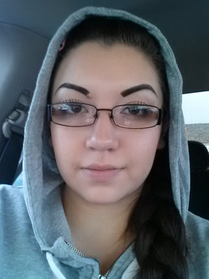 My simple makeup look. foundation concealer contour blush eyebrows chapstick mascara false lashes  tightline