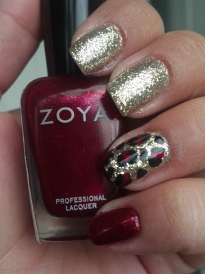 Gold and Red Leopard Print. Got this idea off a picture from pintrest but cannot find the original picture now :(