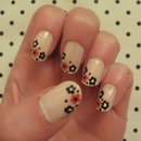 Black/Red Flower Nails