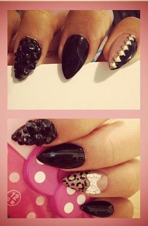 Dark Theme: Black Cluster bling, Gold studs & leopard bow