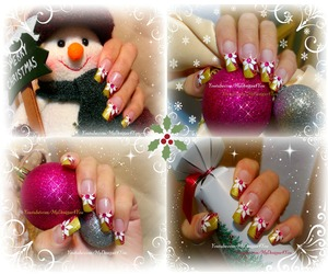 Festive Pink and Gold, Christmas Nail Art Design. MERRY CHRISTMAS!