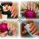 Festive Pink and Gold, Christmas Nail Art.