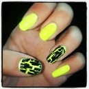 Neon Yellow and Black Crackle