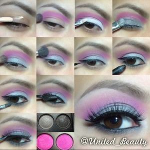 here is another request i hope you enjoy! Thanks you everyone! 😘 1⃣prime the lid 2⃣With a blending brush i apply mix the two pink colors from costal scents pallet and add it to the crease and conect with my eyebrow 3⃣white base all over the lid 4⃣Tap the silver shadow all over the white base 5⃣With the same blending brush i use for the pink blend two colors together 6⃣With clean brush soft the edges 7⃣small cat eyeliner 8⃣Line waterline with black 9⃣small pencil brush to add the black shadow with sparkles under the eye 🔟Curl add mascara and put fake lashes on! 🙈🙈🙈🙈💥💥👸 done! WHAT I USE ⬇⬇⬇⬇⬇ 👉shadows from costal scents 88 PRISMPalette 👉Nyx jumbo pencil in milk 👉brushes from costal scents and elf cosmetics