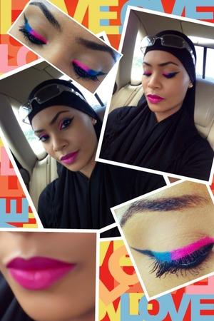 pink blue and black liner