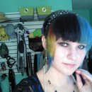 Rainbow with black and blue split bangs