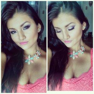 Eyeshadow : purple coler -  pink  rosado (LA COLORS eyeshadow palette  ) lips  color : Milani rose Hip #33  .my lindo  color   come and follow me  Instagram :gehcrazy