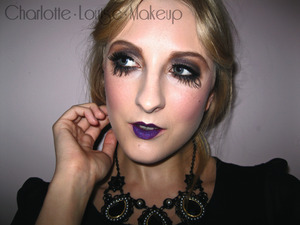 Created another makeup look, had a lot of fun doing this one because it's my favourite type of makeup to do.   This is 1920s period makeup; emphasised glamour. Full, long lashes to accentuate romantic and alluring eyes. New colour exploration, violet lips for an alternative approach to this inspiring era for makeup. Rich plum blush along the entire cheek bone for a prominent flushed rouge stain. This look embodies the style culture of the 1920s club scene and that of 'flapper girls'.