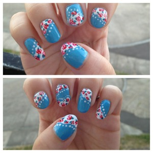 Cath Kidston inspired floral nail art. I absolutely love the blue I have used here! So pretty
