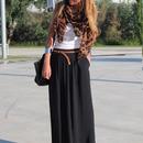 Side Split High-waisted Black Maxi Skirt